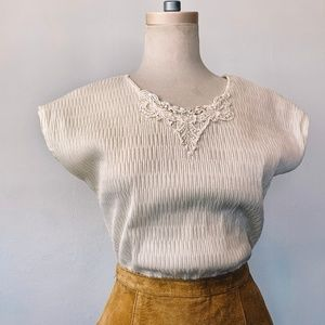 Vintage Stretch Crinkle Tee with Macrame Lace